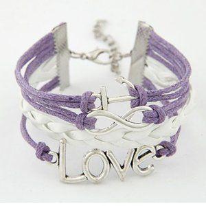 3/$20 New Purple & White Love Anchor Bracelet